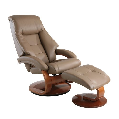 58 Oslo Series Leather Ergonomic Recliner and Ottoman