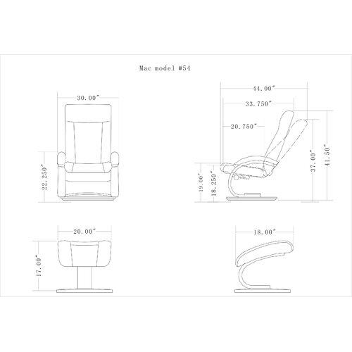 Mac Motion Oslo 54 Series Ergonomic Recliner and Ottoman