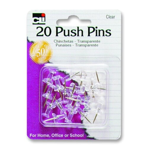 "Charles Leonard Co. Push Pins, Plastic, 7/16"", 20/PK, Clear"