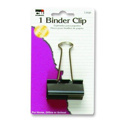 """Charles Leonard Co. Binder Clips, Large, 2"""", 3/PK, Black/Steel"""
