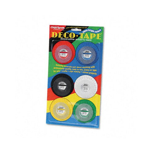 "Higgins Chartpak Deco Bright Decorative Tape,0.12"" x 324"", 6/Box"