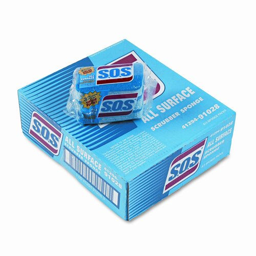 Clorox Company S.O.S All-Surface Scrubbing Sponge, 3 x 5-1/4, 1 Thick, 3 Sponges/pack
