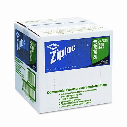 Ziploc® Resealable Sandwich Bag, 1.2 ml, 500/Box