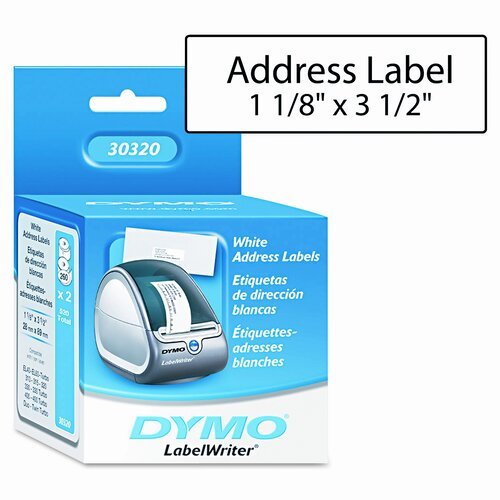 Dymo Corporation Address Labels, 1-1/8 X 3-1/2, 520/Box