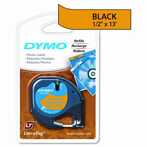 Dymo Corporation Letratag Plastic Tape Cartridge, 1/2 x 13ft, Hyper Yellow