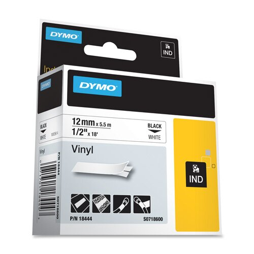 "Dymo Corporation Label, Vinyl, Industrial, 3/8"", 18', White"