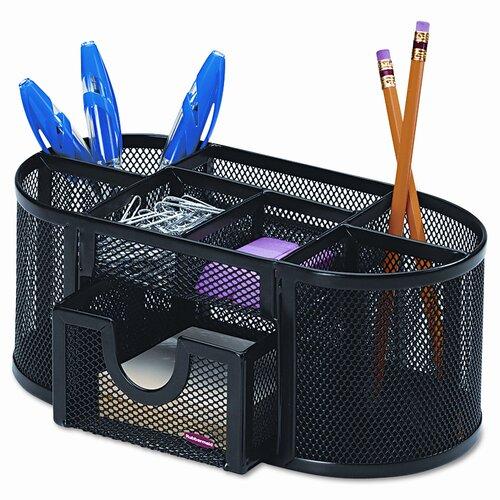 Eldon® Rolodex Mesh Pencil Cup Organizer Steel, 4 Compartments