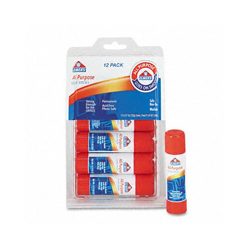 Elmer's Products Inc All-Purpose, Permanent Glue Sticks, 12/Pack