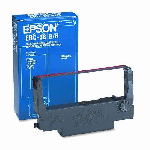 Epson America Inc. ERC38B/ERC38BR Cash Register Ribbon, Fabric, Black/Red