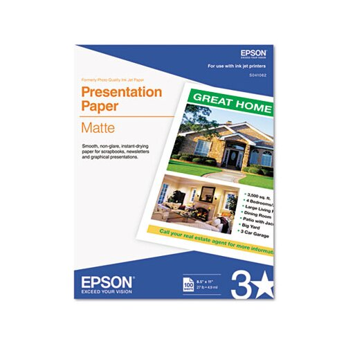 Epson America Inc. S041062 Matte Presentation Paper, 27 Lbs., 8-1/2 X 11, 100 Sheets/Pack