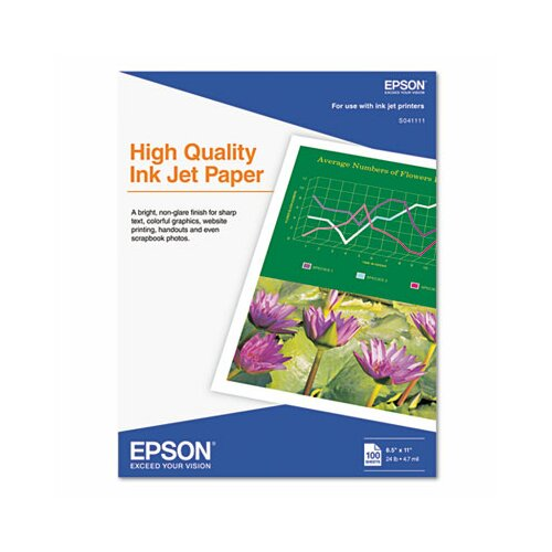 Epson America Inc. S041111 Matte High Quality Inkjet Paper, 100 Sheets/Pack