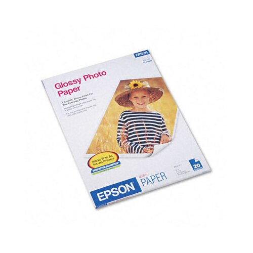 Epson America Inc. S041141 Glossy Photo Paper, 8-1/2 x 11, 20 Sheets per Pack