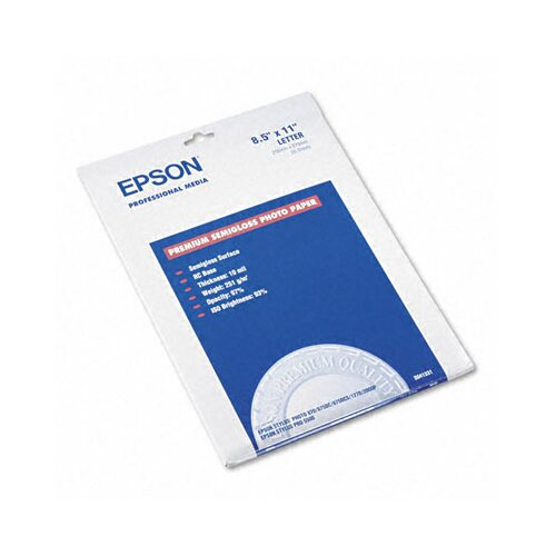 Epson America Inc. Premium Photo Paper, 68 Lbs., 8-1/2 X 11, 20 Sheets/Pack