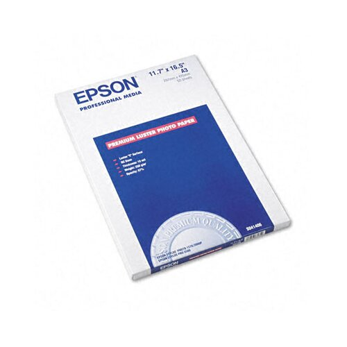 "Epson America Inc. S041406 Ultra Premium Luster Photo Paper, 11.75"" x 16.5"", 50 Sheets/Pack"