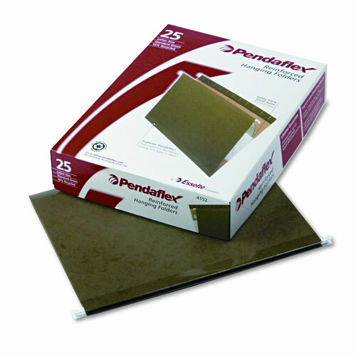 Esselte Pendaflex Corporation Reinforced Hanging File Folders, Untabbed, Kraft, Letter, 25/Box