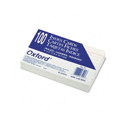 Esselte Pendaflex Corporation Oxford Ruled Index Cards, 3 X 5, 100/Pack