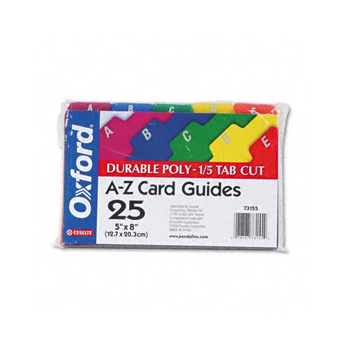 Esselte Pendaflex Corporation Oxford Card Guides, Alpha, 1/5 Tab, Polypropylene, 5 X 8