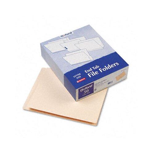 Esselte Pendaflex Corporation End Tab Expansion Folders, 2 Fasteners, Straight Tab, Letter, 14Pt Manila, 50/Box