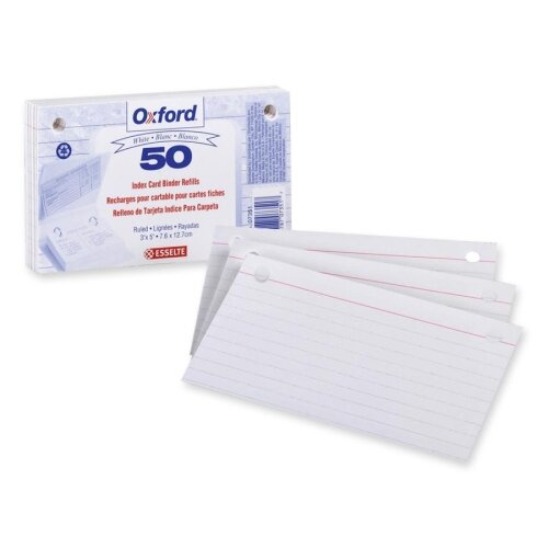 "Esselte Pendaflex Corporation Card Binder Refill, 2HP, Ruled, 3""x5"", White"