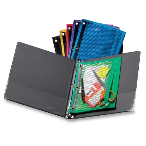 """Esselte Pendaflex Corporation Zipper Binder Pockets, 3-Hole Punch, 10-1/2""""x7-1/2"""", Assorted"""