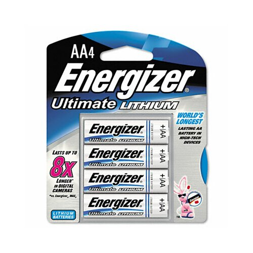 Energizer® e² Lithium Batteries, AA, 4/pack