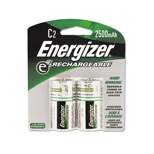 Energizer® E2 Nimh Rechargeable Batteries, C, 2 Batteries/Pack