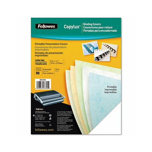 Fellowes Mfg. Co. Copylux Printable Binding System Covers, 50/Pack