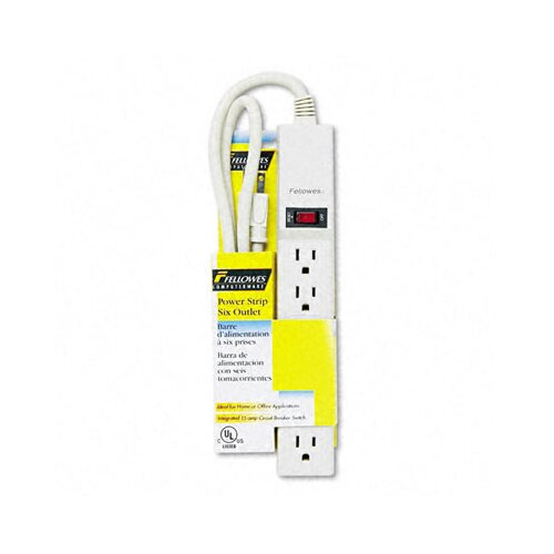 Fellowes Mfg. Co. Six-Outlet Power Strip, 120V, 4Ft Cord