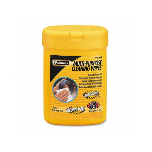 Fellowes Mfg. Co. Multipurpose Cleaning Wet Wipes, Cloth, 65/Tub