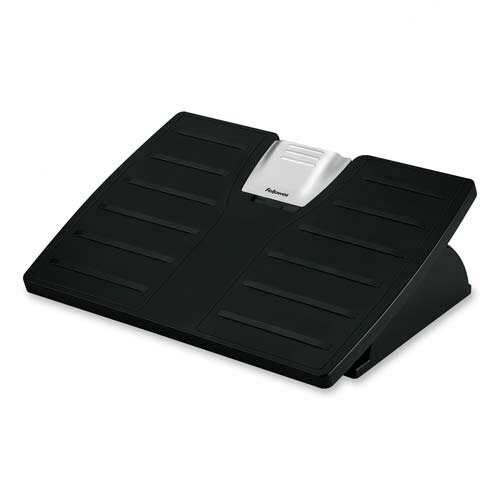 "Fellowes Mfg. Co. Adjustable Foot Rest, Tilt, 17-1/2""x13/18""x4-3/8"", Black/Silver"
