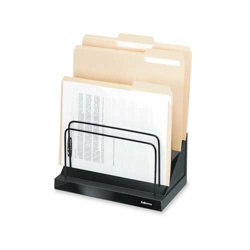 "Fellowes Mfg. Co. Step File,w/ 6-1"" Compartmentss, 11-1/4""x7-1/8""x10-1/2"", Black"