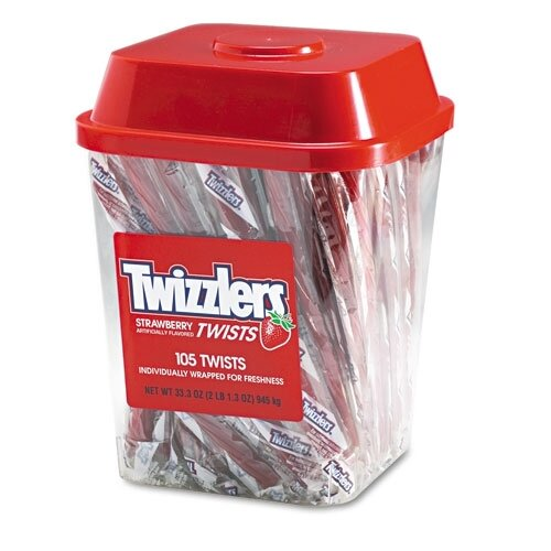 FIVE STAR DISTRIBUTORS, INC. Twizzlers Strawberry Twizzlers Licorice, Individually Wrapped, 2Lb Tub