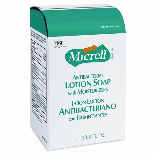 GOJO Industries MICRELL NXT Antibacterial Lotion Soap Refill, Light Scent, 1000ml Bag, 8/ctn