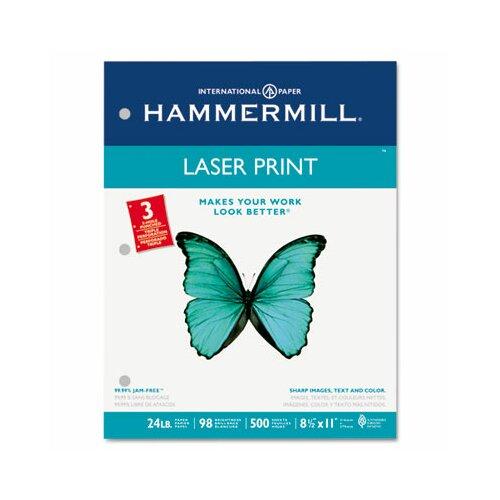 Hammermill Laser Print Office Paper, 3-Hole Punch, 98 Brightness, 24Lb, Ltr, 500/Rm