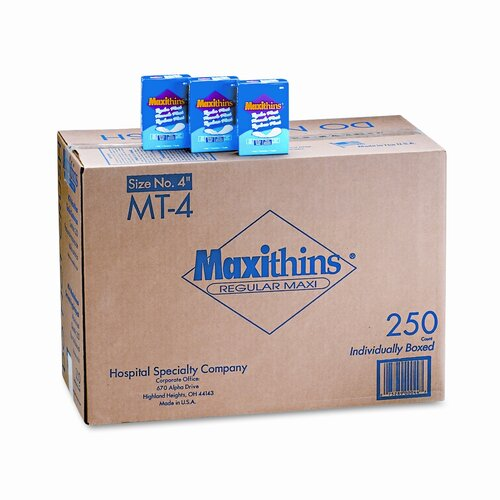 Hospital Specialty Maxithins Thin, Full Protection Pads, 250 Individually Boxed Napkins/Carton