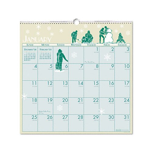 House of Doolittle Illustrated Monthly Wall Calendar, 12 x 12, 2014