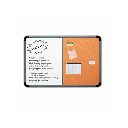 "Iceberg Enterprises Charcoal Frame Combo Dry Erase/Cork 3' 6"" x 5' 6"" Whiteboard and Bulletin Board"