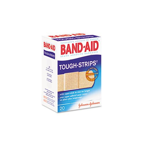 Johnson & Johnson Flexible Fabric Adhesive Tough Strip Bandages, 1 x 3-1/4, 20 per Box