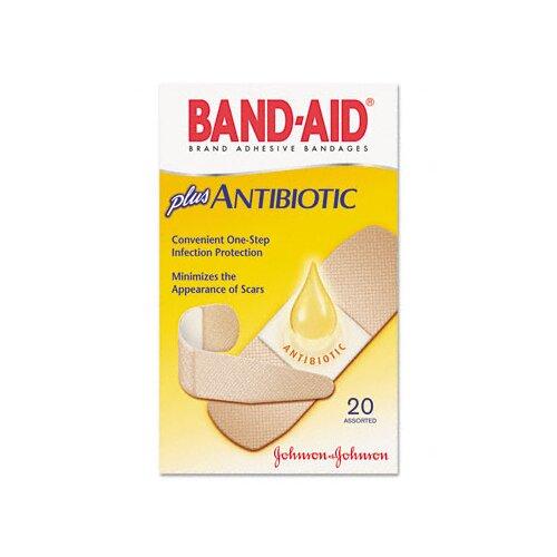 Johnson & Johnson Antibiotic Adhesive Bandages, Assorted Sizes, 20 per Box