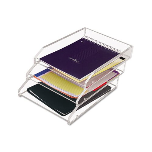 Kantek Double Letter Tray, Two-Tier, Acrylic, Clear