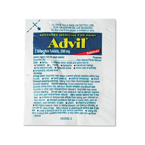 Lil' Drugstore Advil Single-Dose Ibuprofen Tablets Refill Packs, 30 Packets/Box