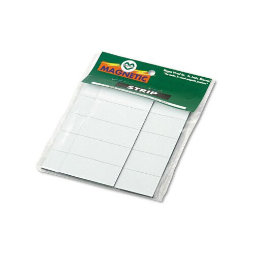 Magna Visual, Inc. Magnetic Write-On/Wipe-Off Pre-Cut Strips, 2 x 7/8, White, 25 per Pack