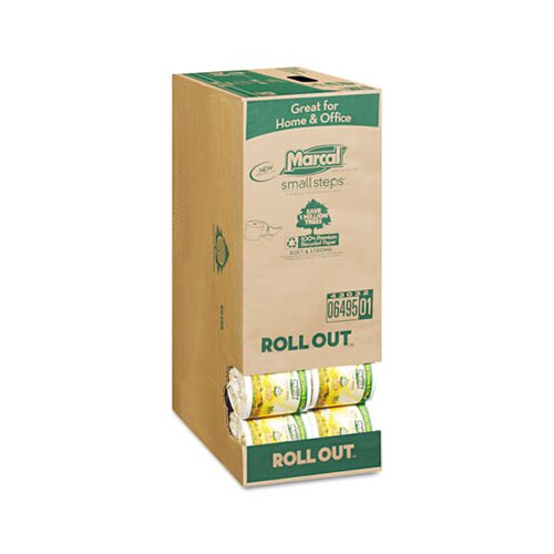 Marcal Paper Mills, Inc. Small Steps 100% Recycled Roll-Out Convenience 2-Ply Toilet Paper - 336 Sheets per Roll