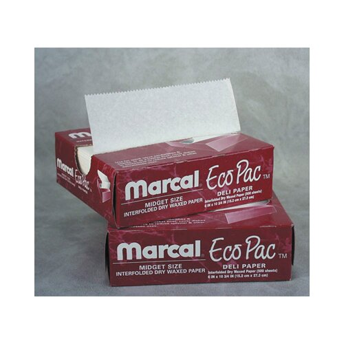 "Marcal Paper Mills, Inc. 10"" Eco-Pac Natural Interfolded Dry Waxed Paper Sheets in White"