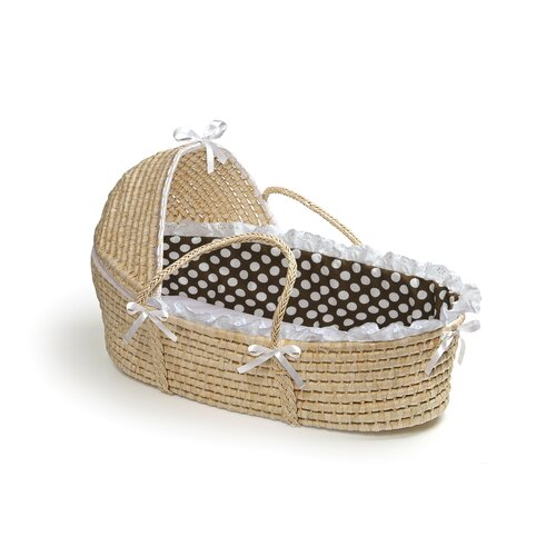 Hooded Moses Basket with Polka Dot Bedding