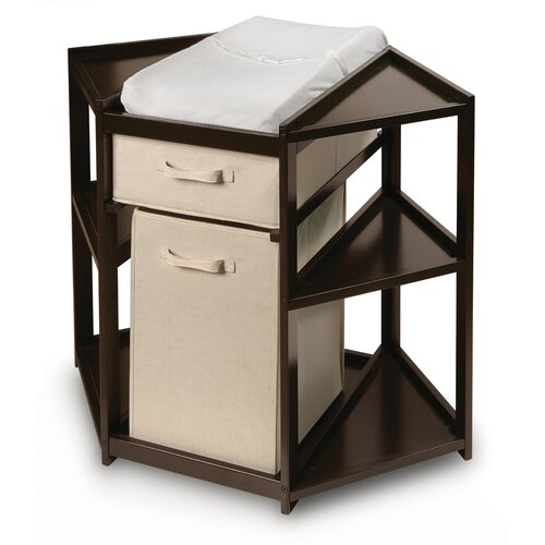 Badger Basket Diaper Corner Baby Changing Table with Hamper and Basket