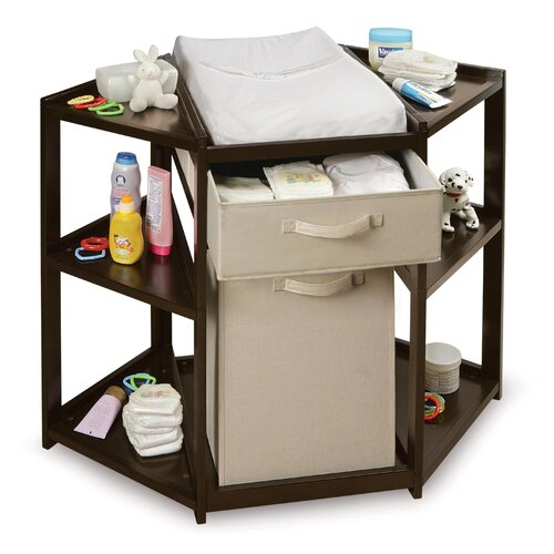 Diaper Corner Baby Changing Table with Hamper and Basket