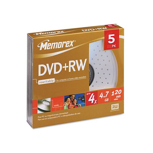 Memorex DVD+RW Discs, 4.7GB, Five/Pack