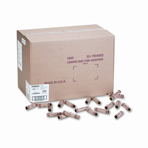 MMF Industries Preformed Tubular Coin Wrappers, Pennies, 1000 Wrappers/Box