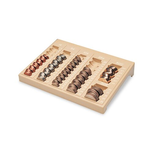 MMF Industries One-Piece Plastic Countex Ii Coin Tray with 6 Compartments, Sand